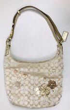 COACH Signature Floral Shoulder Bag Gold Leather Tote Brown Purse Flowers