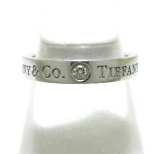 Auth TIFFANY&Co. Flat Band Ring Pt950 Diamond Ring #6.5  US #3 3/4