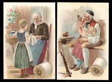 1880's J P COATS THREAD 2 TRADE CARDS, ELDERLY MAN & LADY with CHILDREN  TTC660