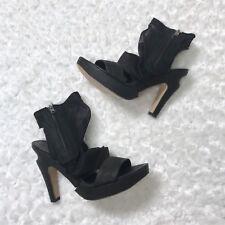 LD Tuttle 37 6.5 Black Draped Mesh Platform Sandal Boots High Platform Heel $695