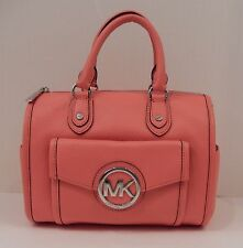 AUTHENTIC MICHAEL KORS CORAL ORANGE LEATHER SATCHEL CROSSBODY HANDBAG TOTE NWT