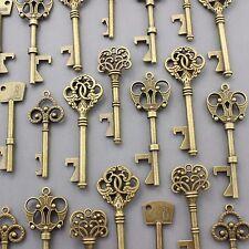 100Pcs Antiqued Brass Skeleton Keys Bottle Openers Mix Wedding Favor Decorations