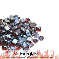 "1"" Reflective Fire Glass Cubes with Fireplace and Fire Pit, 10 lb, Amber"