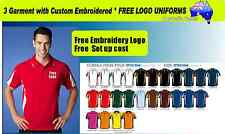 3 Custom Sports Polo with Your Embroidered * FREE LOGO UNIFORMS POLO SHIRTS 507