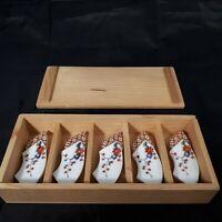 Vintage Hashioki Boxed Set of 5 Porcelain Chopstick Rests Floral Hand Painted