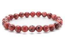 Red Jasper Beaded Mens Stretch Bracelet Handmade