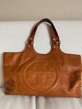 Tory Burch Brown Bombe Leather Handbag Shoulder Tote Bag Purse 100% AUTHENTIC