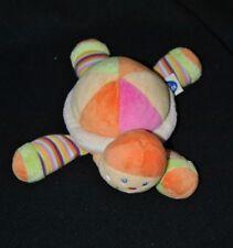 Peluche doudou tortue MOTS D'ENFANTS orange multicolore 22 cm de long TTBE