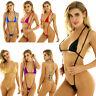 Sexy Damen Micro Bikini Set Metallisch Badeanzug Unterwäsche BH mit G-string
