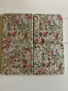 Stone Tile Vintage Floral Print Handmade Coasters