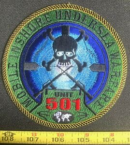 US Military Mobile Inshore Undersea Warfare Unit 501 Embroidered Iron On Patch