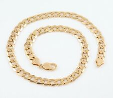 Vintage Solid 9Ct Gold Flat Curb Link Chain Necklace 20 inches