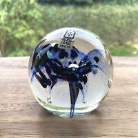 Paperweight By Mdina Art Glass Malta Inky Blue Design Vintage 532g - 7.5cm Tall