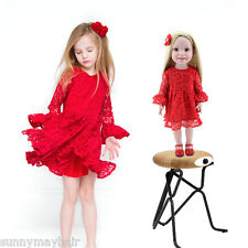 "Plastic PVC 17"" Reborn Doll Handmade Girl Toy Doll Lifelike Red Lace Dress Gift"