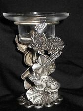 Pewter  Frog on a Lily Pad w/Lilies Oil Warmer / Candle Holder #OB1805