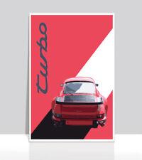 "Red Porsche 930 Turbo. Aluminum Poster 36""x 24"""