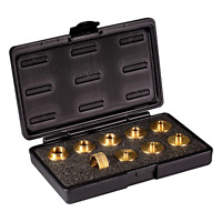 POWERTEC Router Template Guide Set, 10 Piece Solid Brass Guides w/ Carrying Case