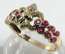 ENGLISH 9CT 9K GOLD VINTAGE INSP RUBY & DIAMOND CROWN CREST RING Free Resize