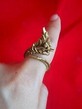 Thai Brass Amulet Ring Buddha Naga Thai Luck Fortune Powerful Talisman