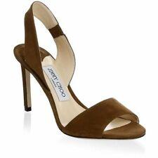 JIMMY CHOO Brown Suede Leather Open Toe Slingback Sz 38