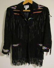 Vintage Erez Levy Southwestern Suede Leather Fringe Jacket Coat Black Medium