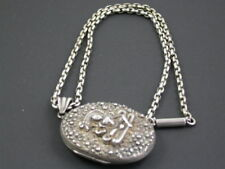 ANTIQUE VICTORIAN SILVER GODDESS LOCKET & NECKLACE C.1880