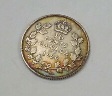 {BJSTAMPS} 1920 CANADA 10 Cents .800 SILVER King George V RAINBOW toning