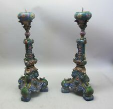 "Fine Pair of 24"" Antique CHINESE CLOISONNE & Bronze Candle Stands  c. 1930s"