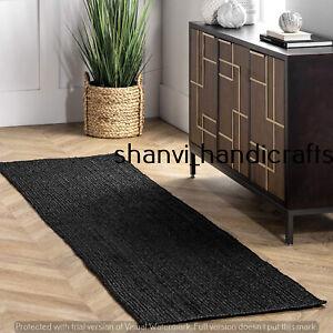 Braided Rug Runner Black Natural Jute Rag Home Decor 2x4 Feet Area Rugs Door Mat