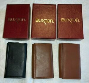 3 Vintage (New-in-Box) BUXTON Black & Brown Leather Tri-Fold KEY CASES