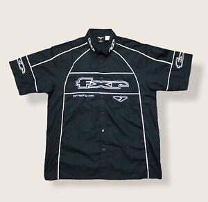 FXR Racing Shirt Motocross Snowmobile Race Black White Button Down Men's Large