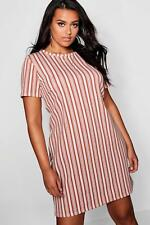 e8c9dea3adbd7 Boohoo Womens Plus Stripe Tan Cap Sleeve Shift Dress in Tan size 18