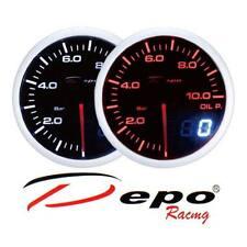 Manometro Pressione Olio 0-10 bar tuning DEPO Racing Dual View sfondo Nero