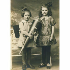 CUTE LITTLE GIRLS with school cone PHOTO c1915/20