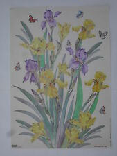 papier découpage technique serviette (thème: iris jaune et violet ) 68X48cm