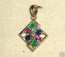 SOLID 14K Gold     RUBY  SAPPHIRE  EMERALD     Pendant