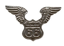 6 wholesale lead free pewter route 66 pins D4033