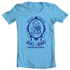 Zig Zag blue T-shirt retro vintage 70's hippie graphic printed 100% cotton tee