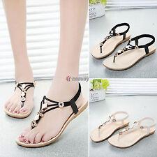 New Womens Summer BOHO Slippers Flip Flops Metal Flats Sandals Beach Thong Shoes