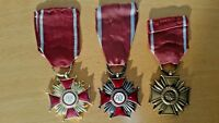 Poland Cross of Merit x 3  Medals Gold Silver Bronze