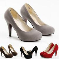 Ladies office Pumps Suede Womens High Heel Court Shoes Sz 10 9 8 7 6 5 4 3 2 1