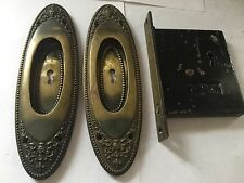 ANTIQUE ARTS CRAFT DECO VICTORIAN CAST BRASS POCKET DOOR PLATES PULLS LOCK
