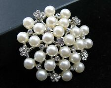 Wholesale Lot 160 Clear Pearl Rhinestone Brooch Pin Bridal Wedding Bouquet Decor