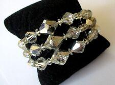 bracelet ancien bijou vintage années 70 cristaux transparents 3 rangs 318