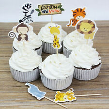 24 pcs Wild Animal Zoo Party Cupcake Toppers Picks Decor For Kids Child Birthday