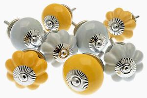 8 x Whisper Grey and Mustard Yellow Ceramic Door Kitchen Bedroom Cupboard Knobs