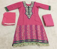 Pakistani Designer dress, Party wear PINK Cotton 3 PC embroidered Salwar Suit 34