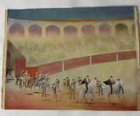 """Original Bull Ring Fighting Lima Peru Arturo Guzmay Folkart 12"""" x 9"""" VTG 7485"""