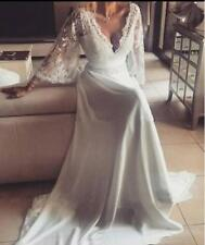 Vintage Country Lace Wedding Dress Bridal Gown Flare Sleeves Formal Bridal Gown