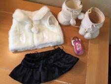 Build A Bear 4-Pc White Winter FAUX FUR VEST & SUEDE BOOTS Blk Skirt Flip phone
